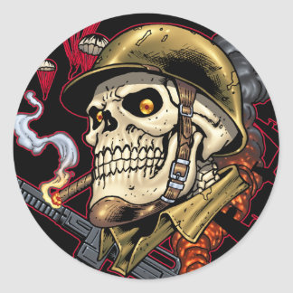 Skull with Helmet, Airplanes and Bombs Classic Round Sticker