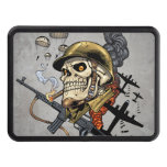 Skull with Helmet, Airplanes and Bombs Trailer Hitch Cover