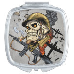 Skull with Helmet, Airplanes and Bombs Vanity Mirror