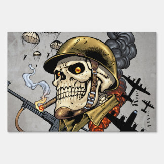 Skull with Helmet, Airplanes and Bombs Lawn Sign