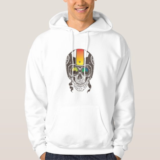Skull with Helmet and Goggle Hoodie