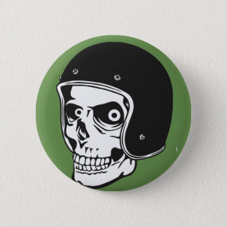 Skull with helmet pinback button