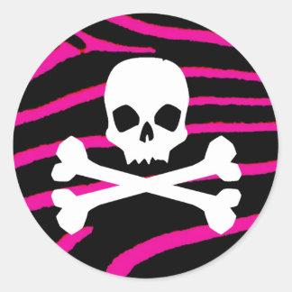 Skull with Hot Pink Zebra Print Classic Round Sticker