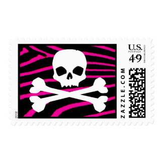 Skull with Hot Pink Zebra Print Postage Stamps