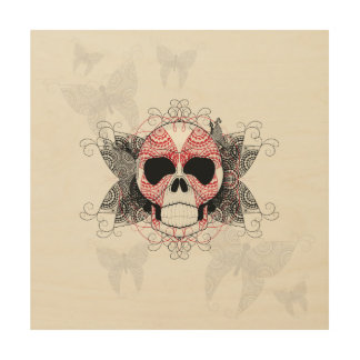 Skull With Lace Butterflies Art