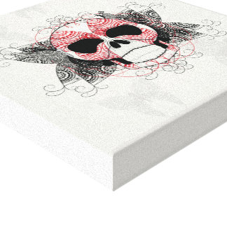 Skull With Lace Butterflies Art Canvas Print