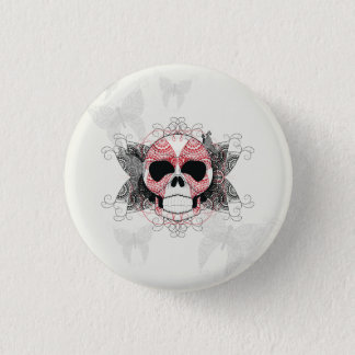 Skull With Lace Butterflies Art Pinback Button