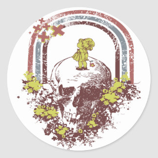 Skull With Little Girl Classic Round Sticker