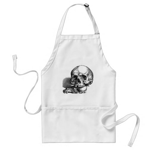 Skull with loose jawbones, Halloween idea Aprons