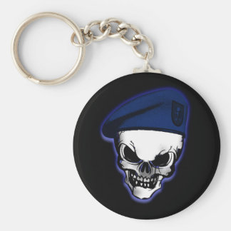 Skull with Military Beret Keychain