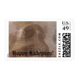 Skull with moth Halloween Postage Stamp