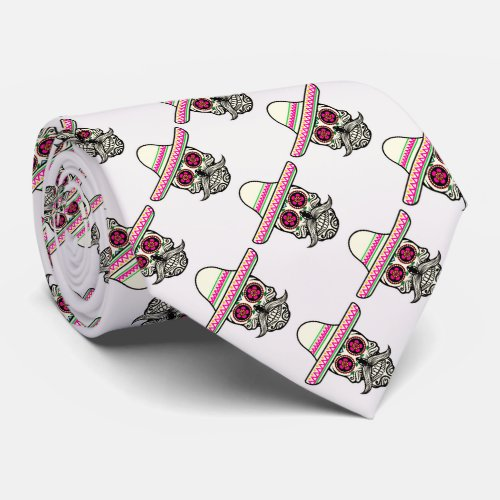 Skull with Mustache and a pink Sombrero Neck Tie