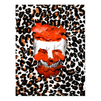 Skull With Orange Flowers on Leopard Print Postcards