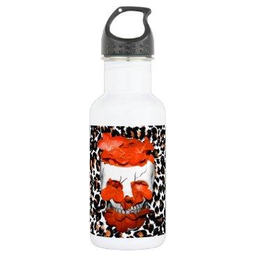 Halloween Themed Skull With Orange Flowers on Leopard Print Stainless Steel Water Bottle