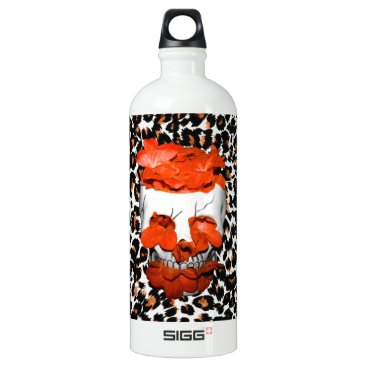 Halloween Themed Skull With Orange Flowers on Leopard Print Water Bottle