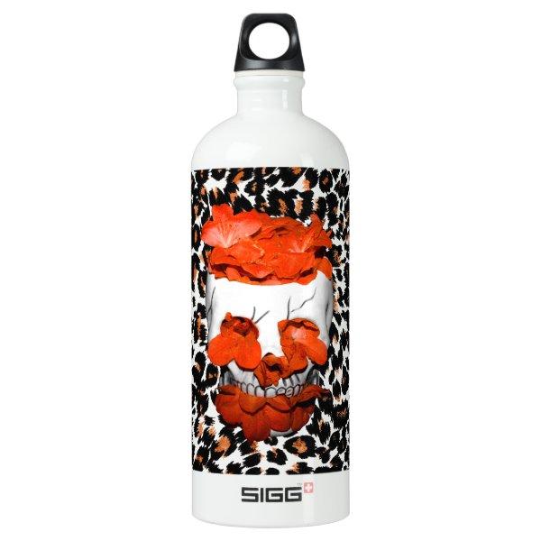 Skull With Orange Flowers on Leopard Print Water Bottle