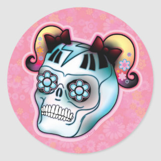 Skull with Pigtail Round Sticker