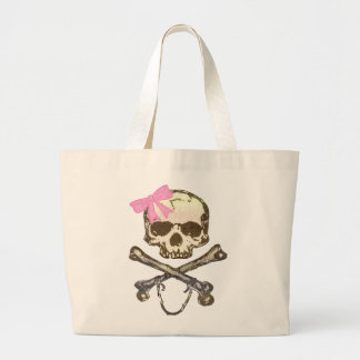 Skull wIth Pink Bow Large Tote Bag