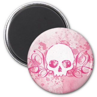 Skull with Pink Splatters and Swirls 2 Inch Round Magnet