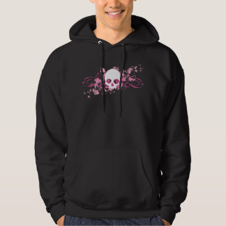 Skull with Pink Splatters and Swirls Hoodie