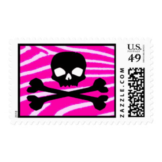 Skull with Pink Zebra Print Stamp