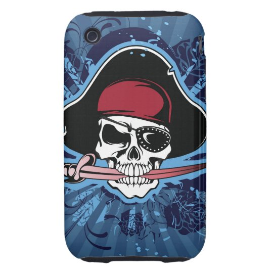 Skull with pirate's hat, eyepatch and sword iPhone 3 tough case