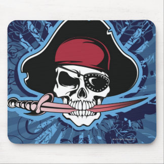Skull with pirate's hat, eyepatch and sword mouse pad