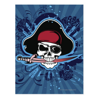 Skull with pirate's hat, eyepatch and sword postcard