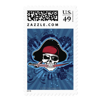 Skull with pirate's hat, eyepatch and sword stamp