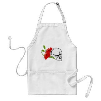 Skull with poppies adult apron