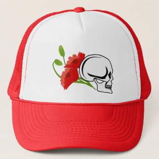 Skull with poppies trucker hat