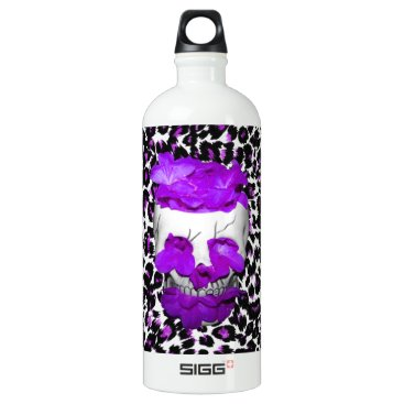 Halloween Themed Skull With Purple Flowers On Leopard Spots Aluminum Water Bottle