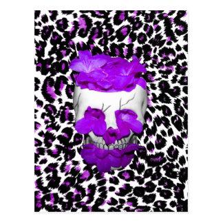 Skull With Purple Flowers On Leopard Spots Postcard