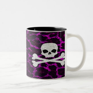Skull with Purple Leopard Print Two-Tone Coffee Mug