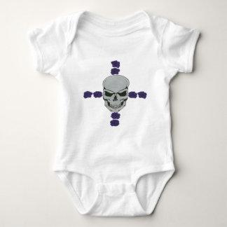 skull with purple rose cross baby bodysuit