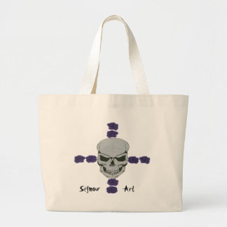 skull with purple rose cross canvas bags