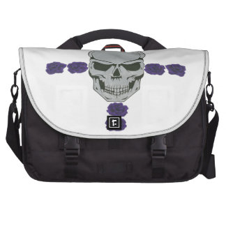 skull with purple rose cross bags for laptop