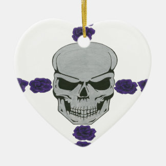 skull with purple rose cross Double-Sided heart ceramic christmas ornament