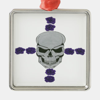 skull with purple rose cross square metal christmas ornament