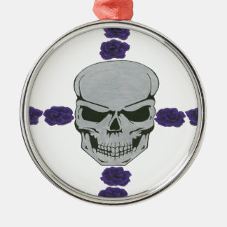 skull with purple rose cross round metal christmas ornament