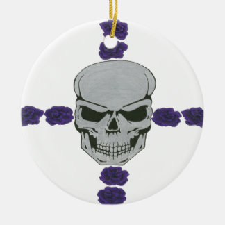skull with purple rose cross Double-Sided ceramic round christmas ornament