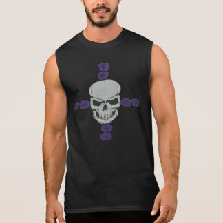 skull with purple rose cross sleeveless t-shirt
