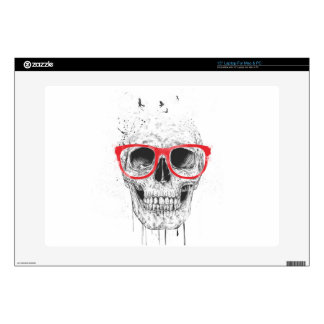 Skull with red glasses laptop skins