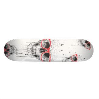 Skull with red glasses skateboard deck
