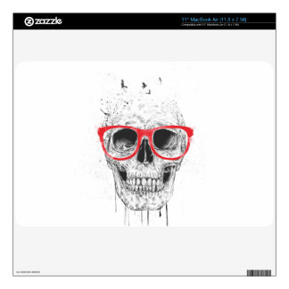 Skull with red glasses MacBook decals
