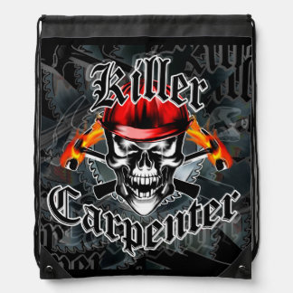 Skull with Red Hard Hat and Flaming Hammers Drawstring Backpack