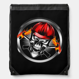 Skull with Red Hard Hat and Flaming Hammers Drawstring Bag