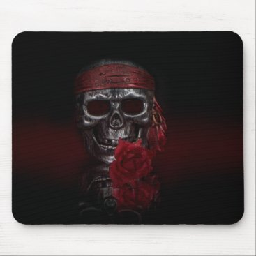 Halloween Themed Skull with Red Rose mousepad