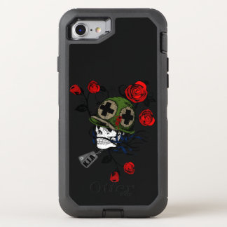 Skull with red roses and german army hat OtterBox defender iPhone 7 case
