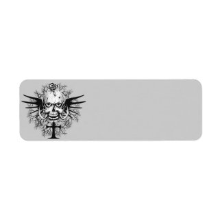 Skull With Rose, Horns, Cross, Wings Illustration Label